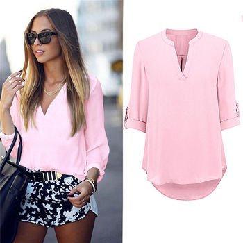 Women's Ladies Summer Loose Tops Three Quarter Sleeve Shirt Casual Blouse Fashion V-Neck Chiffon Blouses