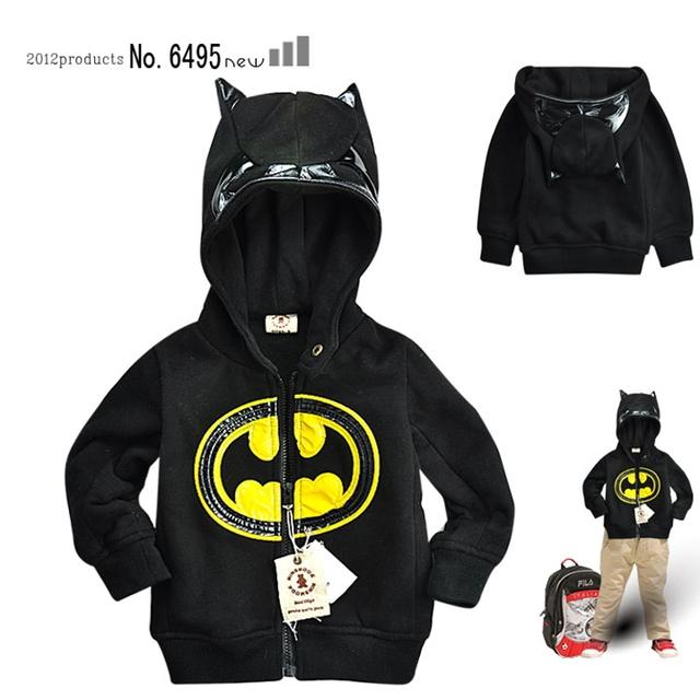 Varejo 2015 Novos de Verão para Crianças Meninos de Roupas Casuais Hoodies Camisolas de Manga Longa Batman com Capa Brasão Das Crianças Das Crianças