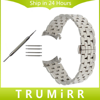 Curved End Stainless Steel Watchband 18mm 20mm 22mm For Seiko Men Women Watch Band Butterfly Buckle