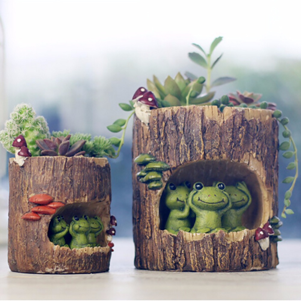 Modern Wooden Resin Bonsai Succulents Pot Retro Permeable Ceramic Green Plant Flower Pots Living Room Office Garden Home Decor