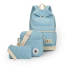 2016 Для женщин рюкзак Школьные сумки для подростков Обувь для девочек рюкзак Рюкзаки 3 компл. Mochila печать BookBag милый холст 2001