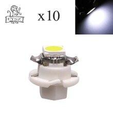 цена на 10Pcs T5 B8.4 LED 1SMD 5050 auto instrument light indicator light control desk lamp display light white light 12v 10Pcs
