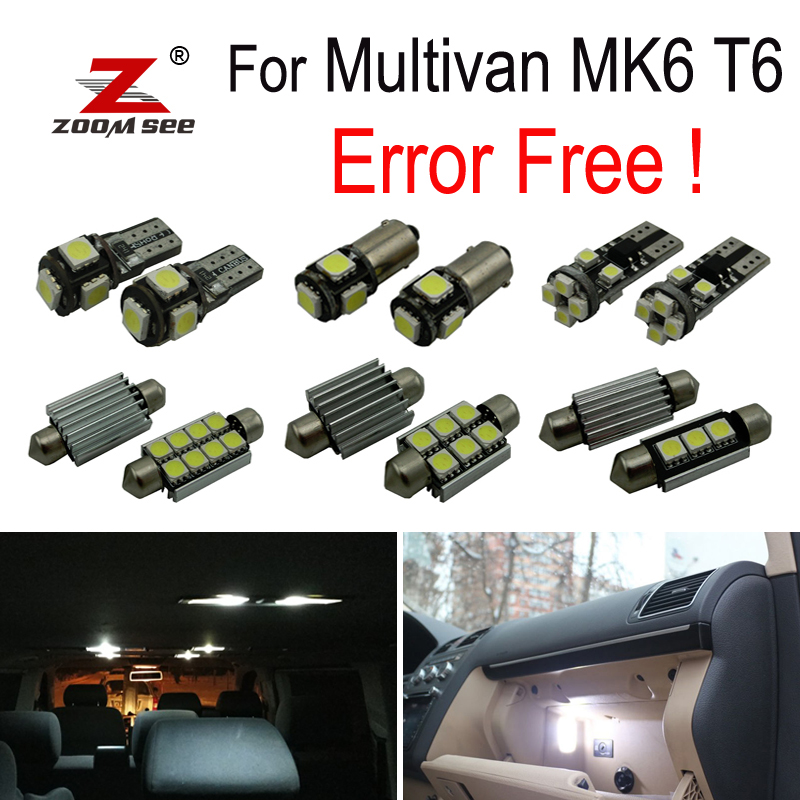 17pcs LED bulb Interior reading dome map Lights Kit for VW for Volkswagen Accessories for Multivan MK6 T6 (2016+)