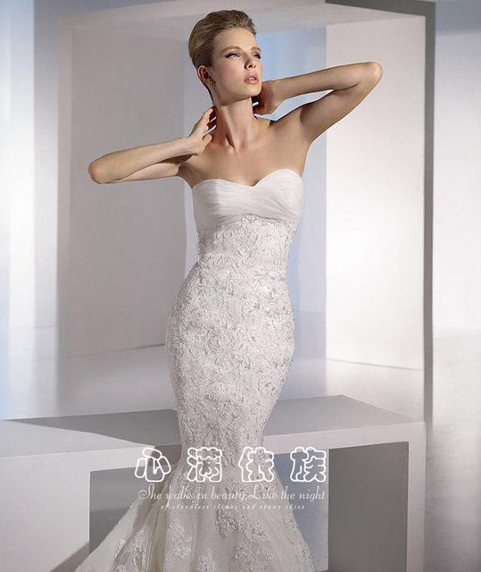 2013 fashion tube top diamond brief sexy lace slim waist and train wedding dress fish tail wd-1