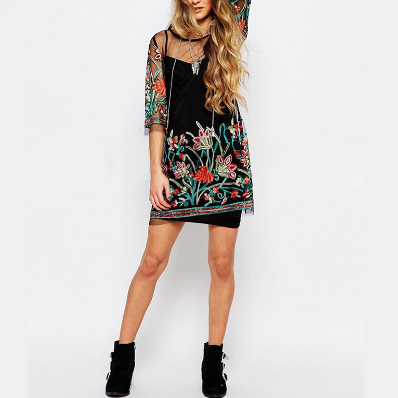 Summer Mini Dress Flower Embroidered Plus Size Lace Dress 2018 New Black White Mesh Chic Two piece Women Beach Party Dress in Dresses from Women 39 s Clothing