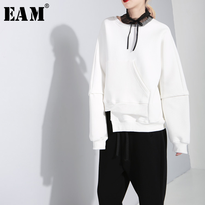 eam 2019 Neue Frühling Rundhals Langarm Schwarz Lose Unregelmäßigen Rand Große Größe Sweatshirt Frauen Mode Flut Ji421 Qualifiziert