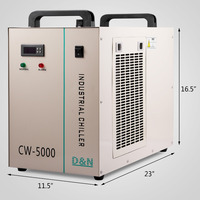 6L Industrial Water Chiller CW 5000DG Thermolysis Type Industrial Water Cooling Chiller for 80W /100W CO2 Laser Tube Co