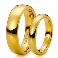 Mens Womens Tungsten Carbide Ring With18K Gold Plated Engagement Wedding Band Comfort Fit Ring For Couple