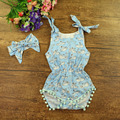 Ropa de bebé nuevo estilo lindo bebé mono mamelucos recién nacido verano foral con la venda de algodón