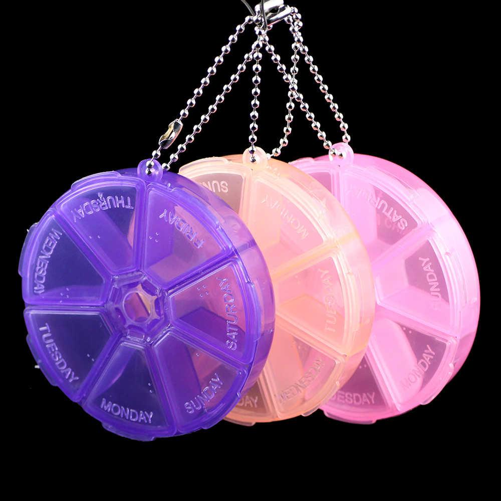 JHNBY di Plastica 7 giorni alla settimana Rotonda Pillbox Portatile a casa di Stoccaggio Vano Box Per Il Trasporto Dei Branelli Dei Monili di Caso Contenitore di Visualizzazione