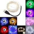5/10 M USB LED Al Aire Libre de Navidad Luces de colores LED Luces de Cadena de Cobre/Alambre de Plata blanco cálido/blanco/azul/verde/rojo/RGB color