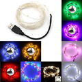 5/10M USB LED Outdoor Christmas Fairy Lights LED String Lights Copper/Silver Wire warm white/white/blue/green/red/RGB color