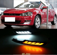 Newest Style For Volkswagen Golf 7 2014 15 DRL12V Daytime Running Light White With Yellow Turning