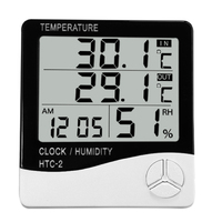 Digital LCD Thermometer Hygrometer Electronic Temperature Humidity Meter Weather Station Indoor Outdoor Tester Alarm Clock
