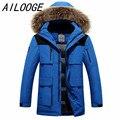 2016 homens inverno jaqueta de pato para baixo dos homens casaco fashion de espessura canadá parka guaxinim casaco de Inverno dos homens quentes de alta qualidade plus size natural