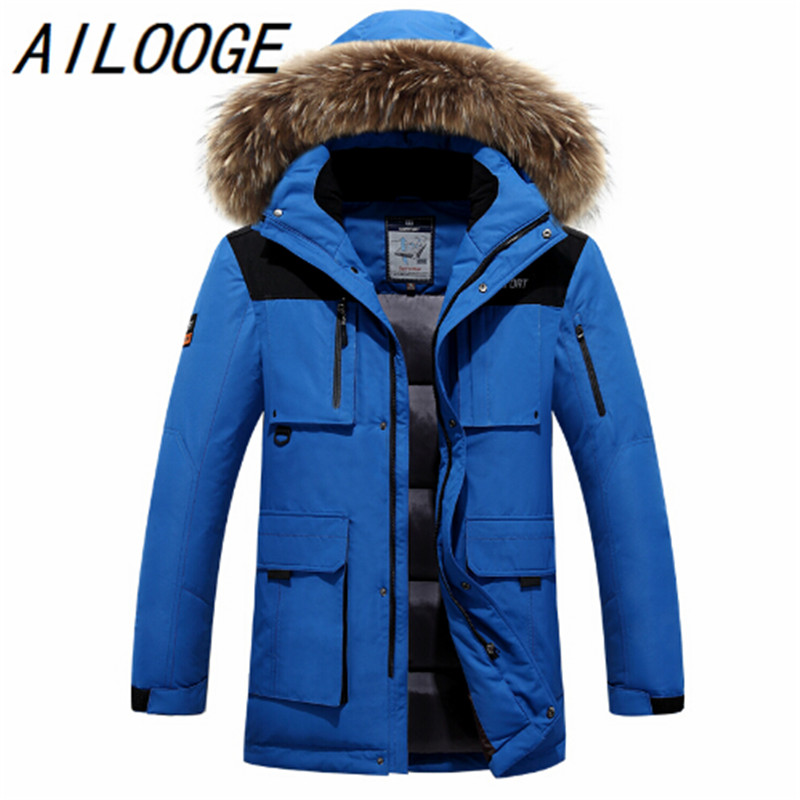 3c68310d044 2016 winter men jacket duck down coat fashion thick men canada parka high  quality plus size men warm Winter coat raccoon natural-in Down Jackets from  Men s ...