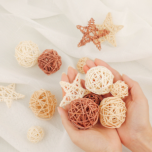 Image 2 - ins Photography Props Backgrounds Accessories 9pcs Natural Rattan Wicker Balls Sepak Takraw Ball Photo Studio Home Decoration