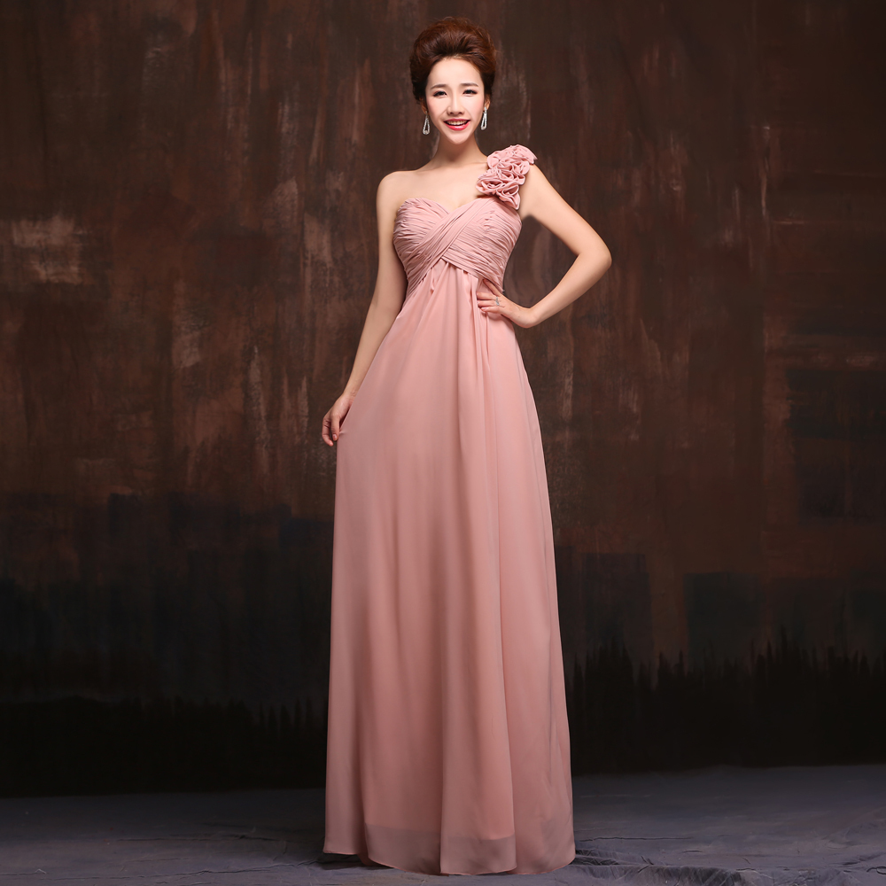 2015 New 5 Styles Long Chiffon Old Rose Pink Blush Bridesmaid Dress