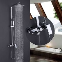 Factory direct sale square shower set pressure with full copper lift shower hot and cold showers DS33010