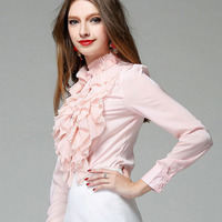1pcs Ladies Plus Size Sexy Blouses Tops 2017 Spring Chiffon Splicing Stand Collar Bowknot Primer Shirt