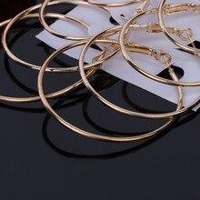 6 Pairs Vintage Dangle Big Circle Hoop Earrings Women Steampunk Ear Clip