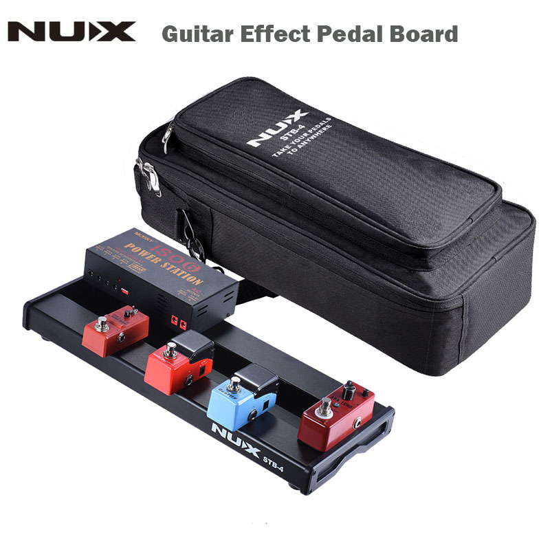 NUX STB-4 Aluminum Alloy Guitar Effect Pedal Board with Portable Carring Bag Case Box / 2 Fastener Tape / 3 Cables