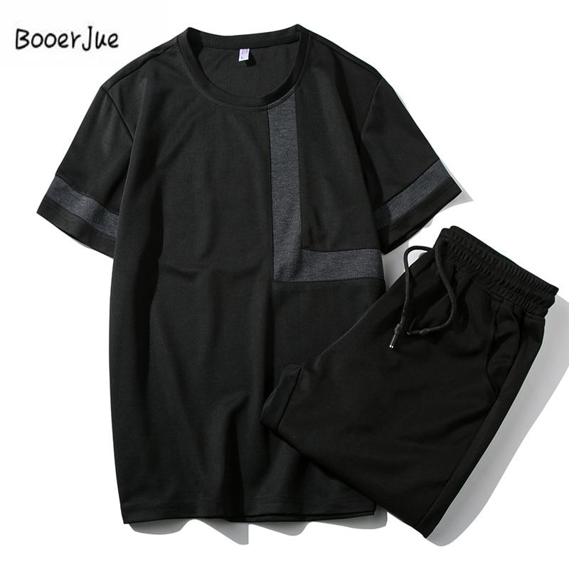 Tracksuit Men Summer Set 2PC Camouflage Sporting Suit Short Sleeve Tee+Sweatpants Two Piece Set Sweatsuit+Pants Quick Drying