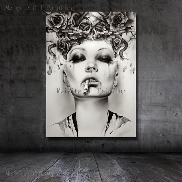 Black white picture gothic smoking girl nice beautiful portrait modern art canvas wall pictures for bedroom
