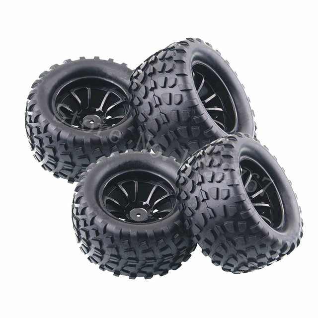 Neumáticos de esponja de goma para coche a control remoto, llantas de goma para coche a escala 1/10, HSP, todoterreno, camión monstruo 94111 94108 94188, 4 unid/lote