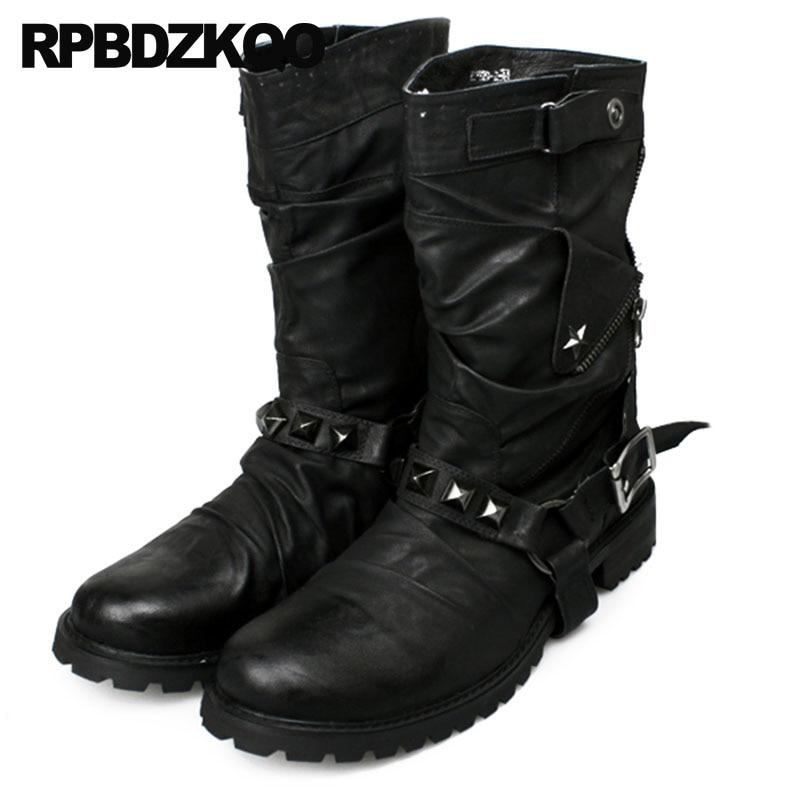 Stud Designer Shoes Men High Quality Embellished Italian Metalic Black Fall Mid Calf British Style Harness Tall Luxury Rivet