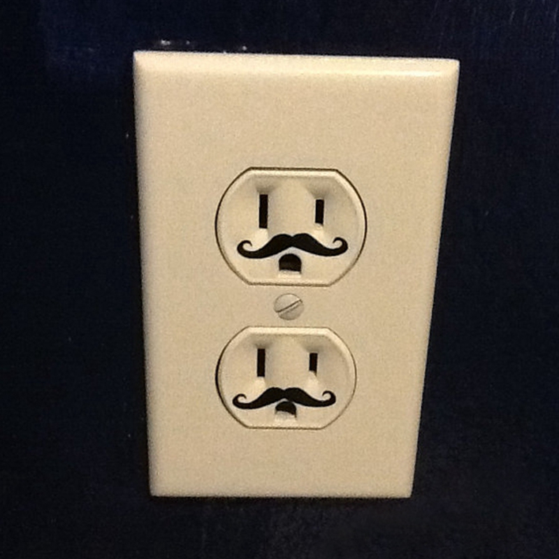 12pcs Funny Light Switch Sticker Mustache funny outlet vinyl decal cute wall art stickers decor