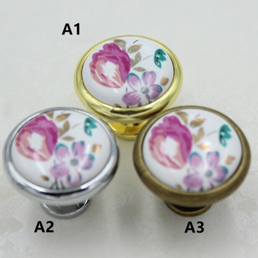Fashion rural ceramic furniture knobs silver golden drawer cabinet knobs pulls bronze dresser door handles knobs moden furniture