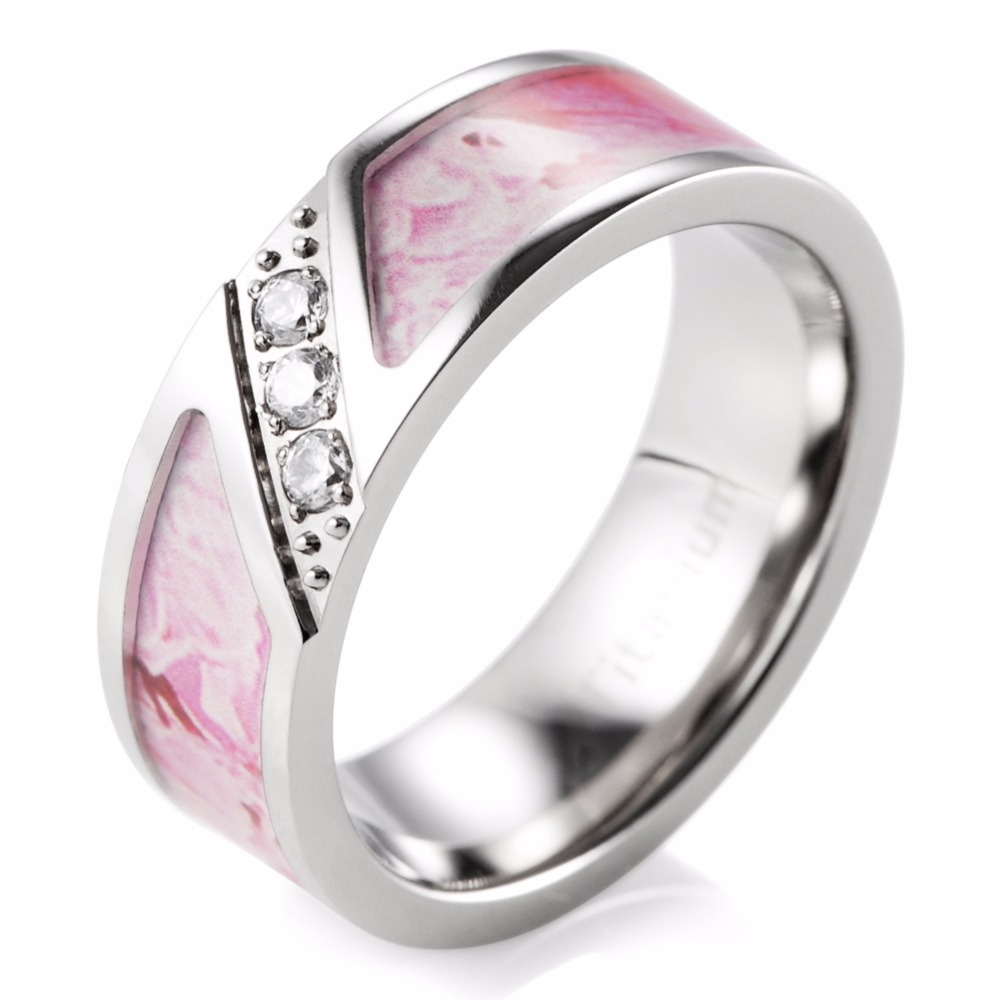 Shardon 7mm Pink Camo Engagement Ring With Three Cubic Zirconia Titanium  Engagement Wedding Ring For Men