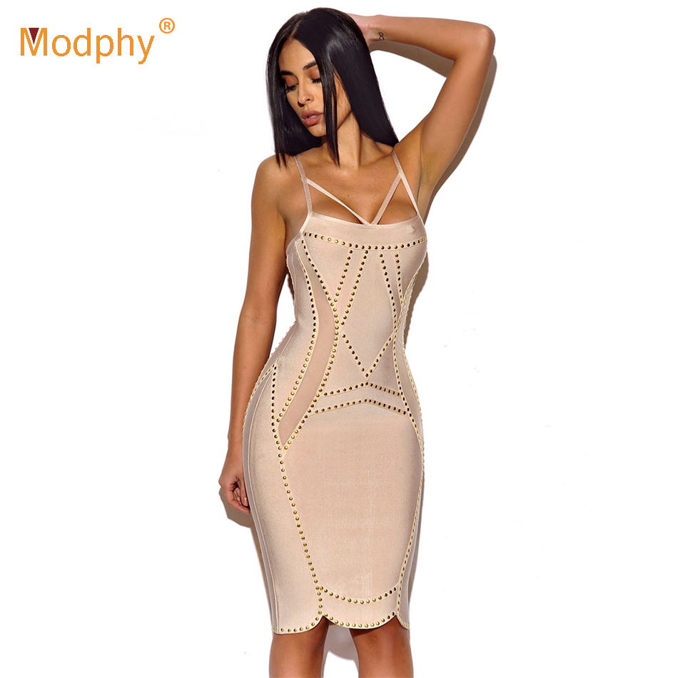 Sans Robe Sexy Robes Party Manches Bandage Spaghetti Rouge Club Rivet Corail Nouveau Celebrity apricot Moulante Abricot 2019 Rouge SMpUzV