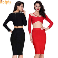 Fashion 2 pieces set dress women two pcs bandage dresses solid color red black white orange see through long sleeve crop HL405