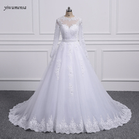 Yiwumensa Two Pieces Lace A LINE Wedding Dresses With Detachable Train White Birdal Gowns Wedding Dress