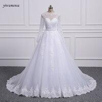 Yiwumensa שתי חתיכות תחרת קו שמלות כלה עם רכבת להסרה לבן Birdal שמלות הכלה שמלות 2018 vestidos דה novia