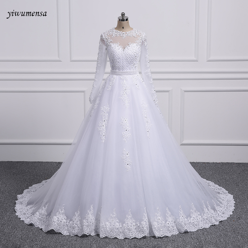 Detachable Trains For Wedding Gowns: Yiwumensa Two Pieces Lace A LINE Wedding Dresses With