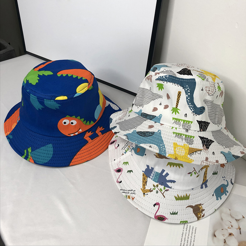 Dinosaur Print Baby Hat Cartoon Cotton Bucket Hat Kids Summer Sun Cap Toddler Boys Girls Hats
