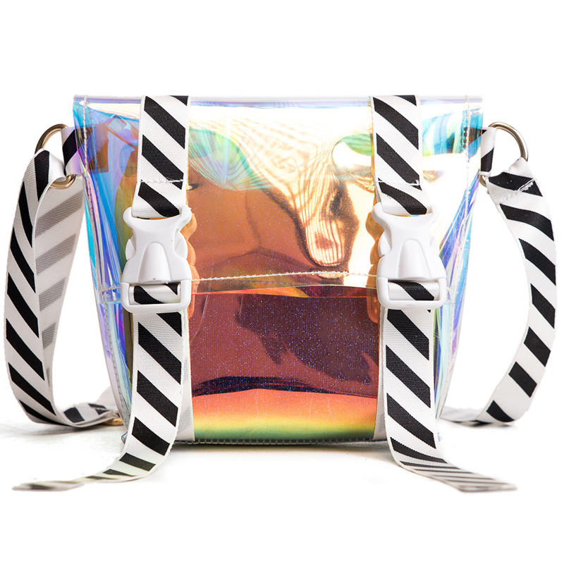 2018 New Hot Selling Laser Hologram Crossbody Bags for Women Striped Wide Straps Shoulder Bag High Quality Designer Handbag