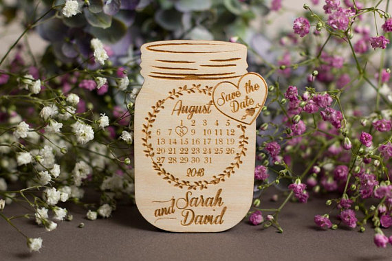 Calendar Mason Jar Save the date, Save the date wedding, Save the date magnet, Wood save ...
