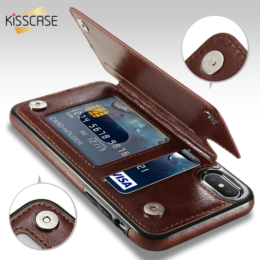 KISSCASE Retro PU Leather Case For iPhone X 6 6s 7 8 Plus XS 5S SE Multi Card Holders Phone Cases For iPhone XS Max XR 10 Cover protective flip open pu leather case w holder card slot for iphone 5 5s light brown