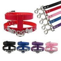Brand New Skórzana Pet Dog Leash i Personlized Uprząż Bezpłatne Rhinestone Litery Czarny Niebieski Czerwony Różowy Fioletowy