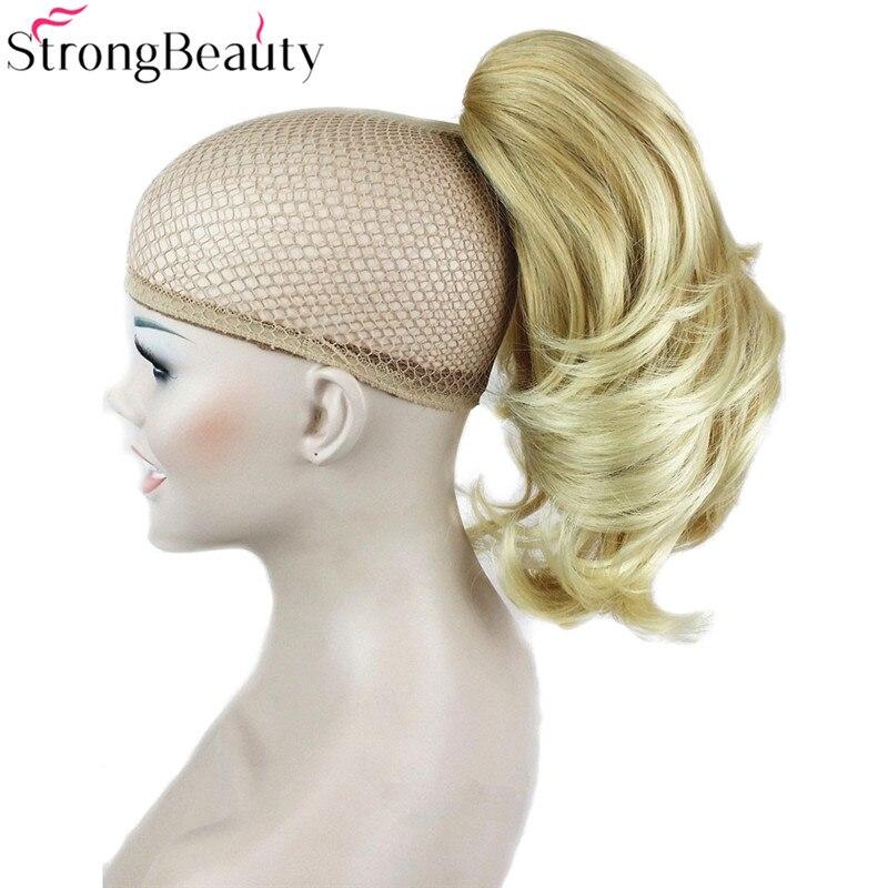 Forte Beauté Court Synthétique Ondulés Blonde Noir Queue de Cheval Clip dans/sur le Morceau De Cheveux Griffe Clip Poney Queue Pour Cheveux Extensions