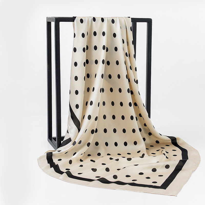 Brand Designer Dots Scarf Women 100% Silk Feeling Scarf Luxury Brand Scarves Shawl Hijab Big Square Scarves 90*90cm
