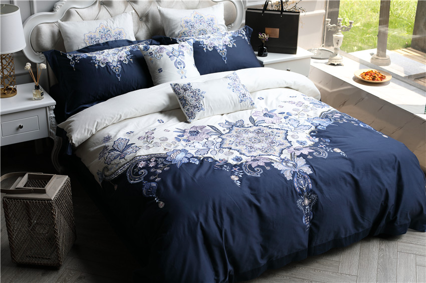 100S Egyptian cotton Luxury Bedding Set 4/7Pcs White Blue Queen King Boho Duvet/Quilt  1