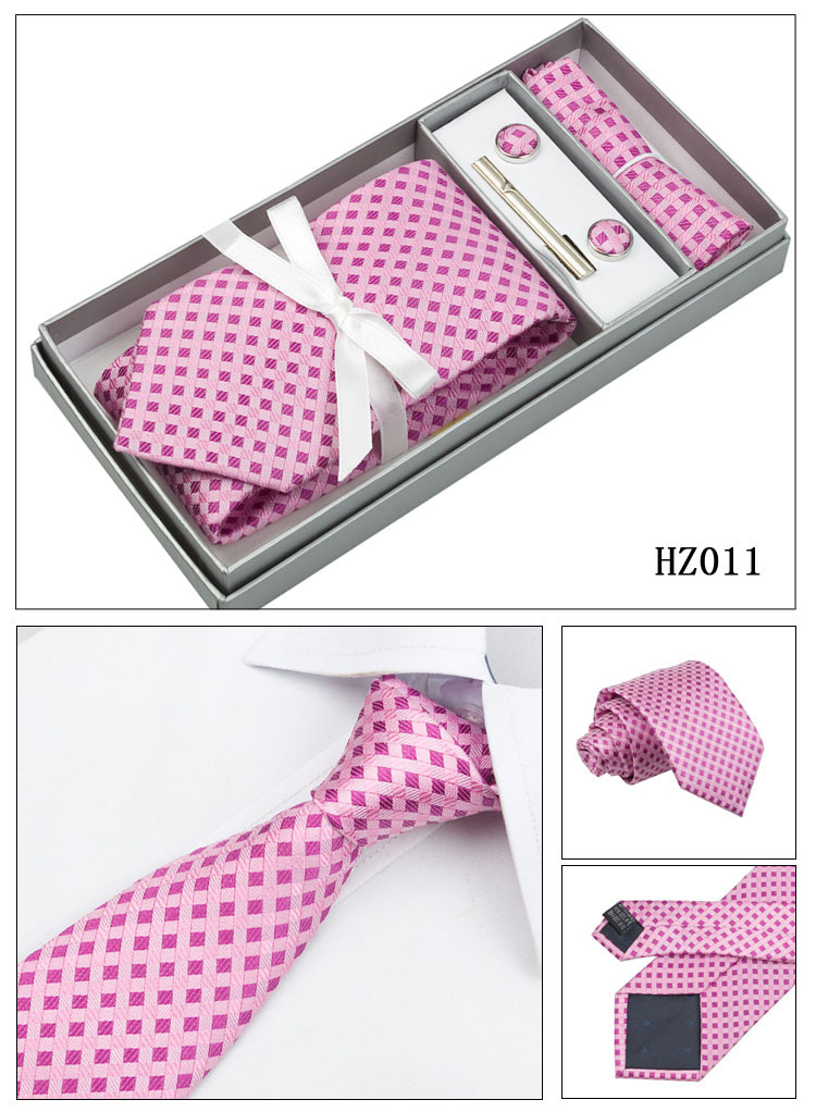 4M8-1 Hot Pink Ties Set Plaid