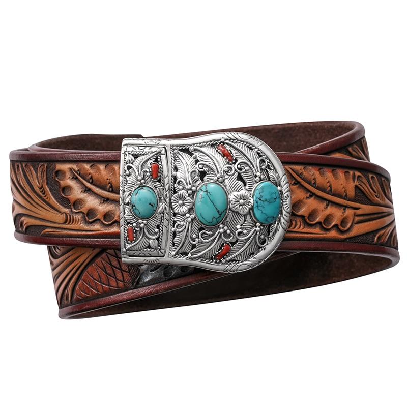 3680 натуральная резные натуральной кожи серебро пряжка с бирюзовый камень Наивысшее качество прочный стильный пояс ручной работы