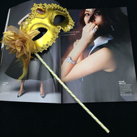 100pcs New handmade plastic with flowers and feather 5 colors elegant masquerade ball masks on sticks