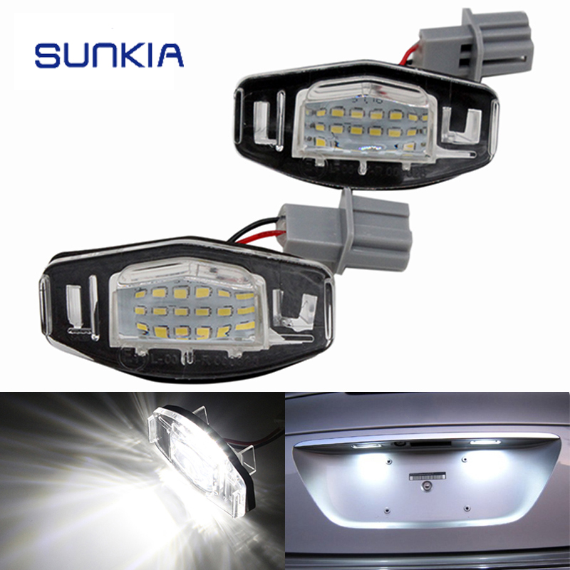 2Pcs/Set SUNKIA Canbus Error Free White 18SMD LED Number License Plate Lights For Honda Accord Civic City Odyssey MR-V/Pilot 4pcs super bright t10 w5w 194 168 2825 6 smd 3030 white led canbus error free bulbs for car license plate lights white 12v
